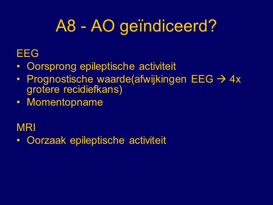 A8 - AO geïndiceerd? EEG Oorsprong epileptische activiteit Prognostische waarde(afwijkingen EEG  4x grotere recidiefkans) Momentopname MRI Oorzaak ep
