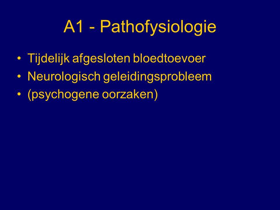 B1 - DD Bijzondere omstandigheden Uitgegleden Vasovagale syncope Myocardischemie Aortastenose Verminderde cardiac output Narcolepsie Verlengde QT-syndroom