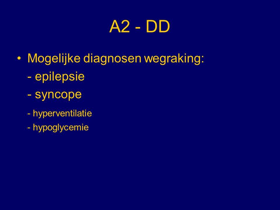 A2 - Definities Epilepsie: plotselinge kortdurende functiestoornis van de hersenen door een acute overmatige ontlading van de hersencellen Syncope: plotselinge kortdurende functiestoornis van de hersenen door een tijdelijk onvoldoende doorbloeding van de hersenen