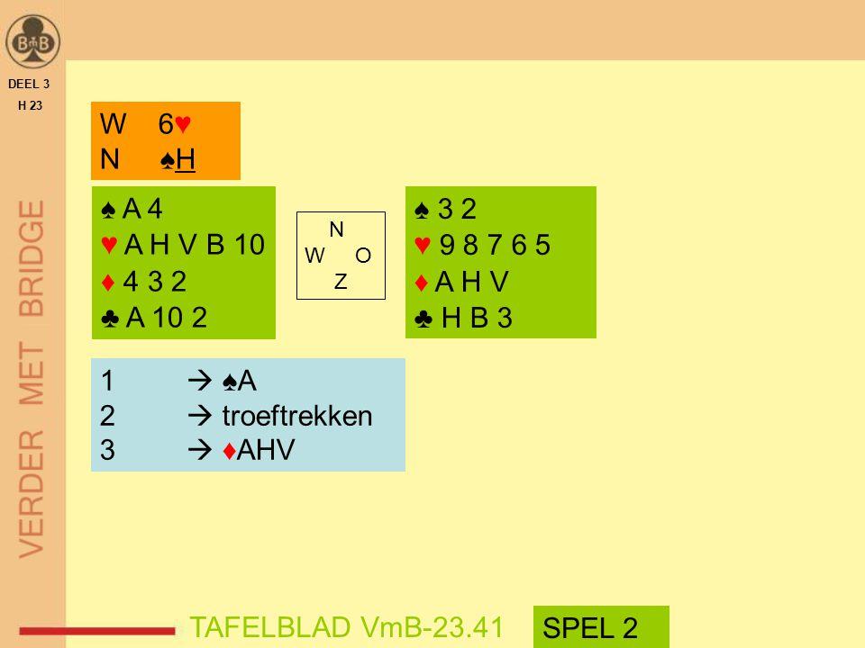 ♠ A 4 ♥ A H V B 10 ♦ 4 3 2 ♣ A 10 2 ♠ 3 2 ♥ 9 8 7 6 5 ♦ A H V ♣ H B 3 N W O Z W 6♥ N ♠H DEEL 3 H 23 1  ♠A 2  troeftrekken 3  ♦AHV TAFELBLAD VmB-23.