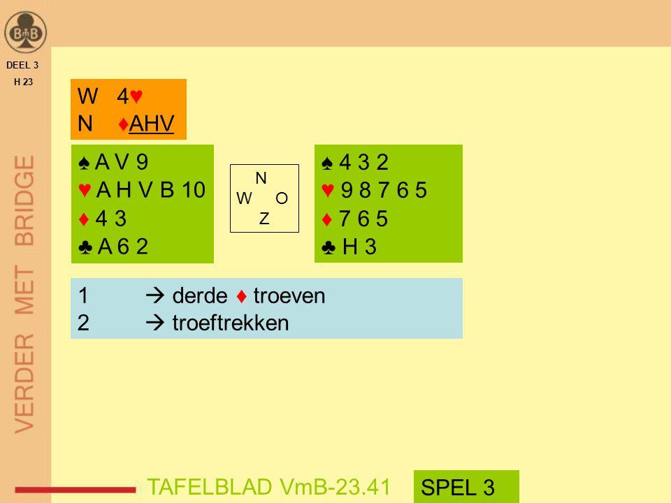 N W O Z DEEL 3 H 23 1  derde ♦ troeven 2  troeftrekken TAFELBLAD VmB-23.41 W 4♥ N ♦AHV ♠ 4 3 2 ♥ 9 8 7 6 5 ♦ 7 6 5 ♣ H 3 ♠ A V 9 ♥ A H V B 10 ♦ 4 3