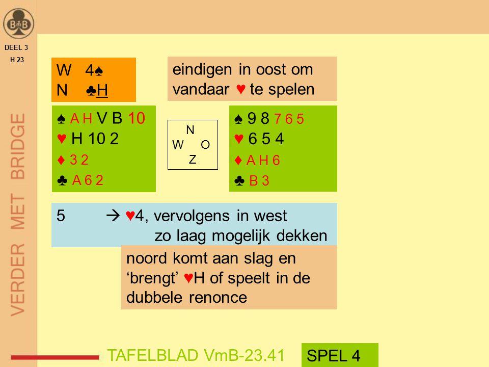 ♠ A H V B 10 ♥ H 10 2 ♦ 3 2 ♣ A 6 2 ♠ 9 8 7 6 5 ♥ 6 5 4 ♦ A H 6 ♣ B 3 N W O Z W 4♠ N ♣H DEEL 3 H 23 TAFELBLAD VmB-23.41 5  ♥4, vervolgens in west zo