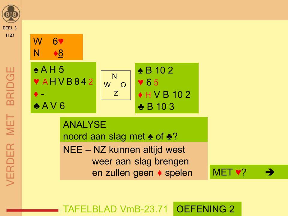 N W O Z DEEL 3 H 23 TAFELBLAD VmB-23.71 W 6♥ N ♦8 ANALYSE noord aan slag met ♠ of ♣? NEE – NZ kunnen altijd west weer aan slag brengen en zullen geen