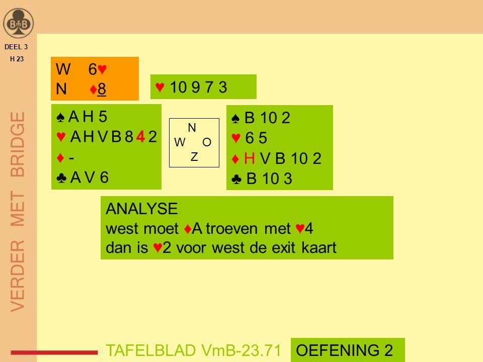 ♠ A H 5 ♥ A H V B 8 4 2 ♦ - ♣ A V 6 ♠ B 10 2 ♥ 6 5 ♦ H V B 10 2 ♣ B 10 3 N W O Z DEEL 3 H 23 TAFELBLAD VmB-23.71 W 6♥ N ♦8 ANALYSE west moet ♦A troeve