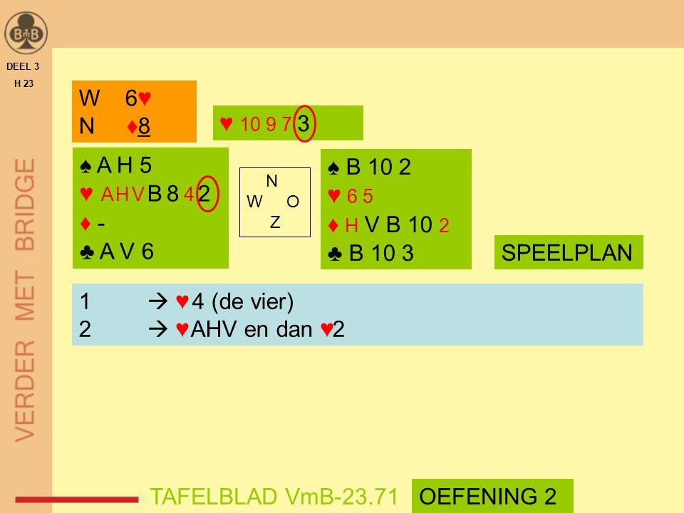 ♠ A H 5 ♥ A H V B 8 4 2 ♦ - ♣ A V 6 ♠ B 10 2 ♥ 6 5 ♦ H V B 10 2 ♣ B 10 3 N W O Z DEEL 3 H 23 TAFELBLAD VmB-23.71 W 6♥ N ♦8 ♥ 10 9 7 3 1  ♥ 4 (de vier
