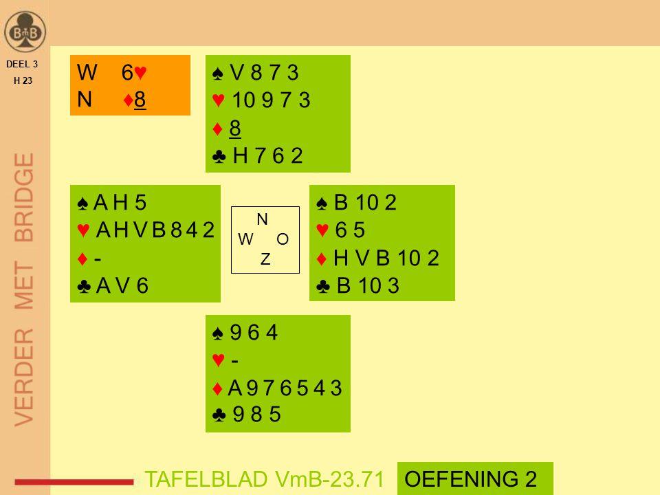 N W O Z DEEL 3 H 23 TAFELBLAD VmB-23.71 W 6♥ N ♦8 ♠ V 8 7 3 ♥ 10 9 7 3 ♦ 8 ♣ H 7 6 2 ♠ 9 6 4 ♥ - ♦ A 9 7 6 5 4 3 ♣ 9 8 5 ♠ A H 5 ♥ A H V B 8 4 2 ♦ - ♣