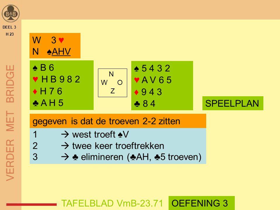 ♠ B 6 ♥ H B 9 8 2 ♦ H 7 6 ♣ A H 5 ♠ 5 4 3 2 ♥ A V 6 5 ♦ 9 4 3 ♣ 8 4 N W O Z DEEL 3 H 23 SPEELPLAN TAFELBLAD VmB-23.71 W 3 ♥ N ♠AHV 1  west troeft ♠V