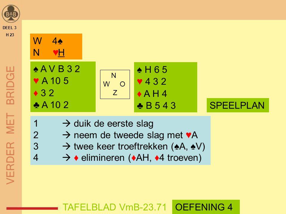 ♠ A V B 3 2 ♥ A 10 5 ♦ 3 2 ♣ A 10 2 ♠ H 6 5 ♥ 4 3 2 ♦ A H 4 ♣ B 5 4 3 N W O Z DEEL 3 H 23 TAFELBLAD VmB-23.71 W 4♠ N ♥H SPEELPLAN 1  duik de eerste s