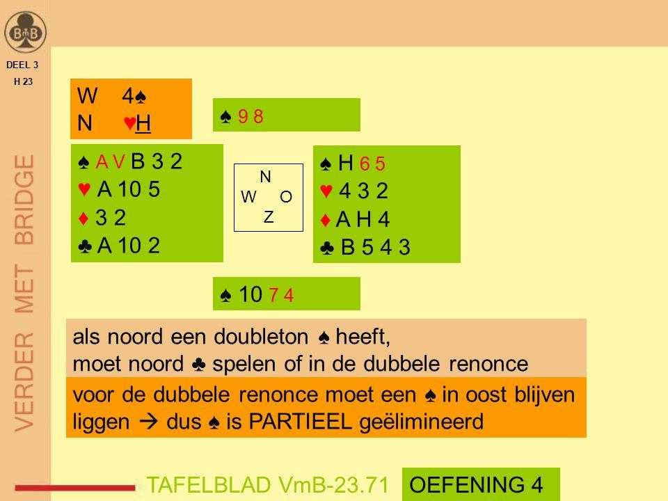 ♠ A V B 3 2 ♥ A 10 5 ♦ 3 2 ♣ A 10 2 ♠ H 6 5 ♥ 4 3 2 ♦ A H 4 ♣ B 5 4 3 N W O Z DEEL 3 H 23 TAFELBLAD VmB-23.71 W 4♠ N ♥H ♠ 9 8 ♠ 10 7 4 als noord een d