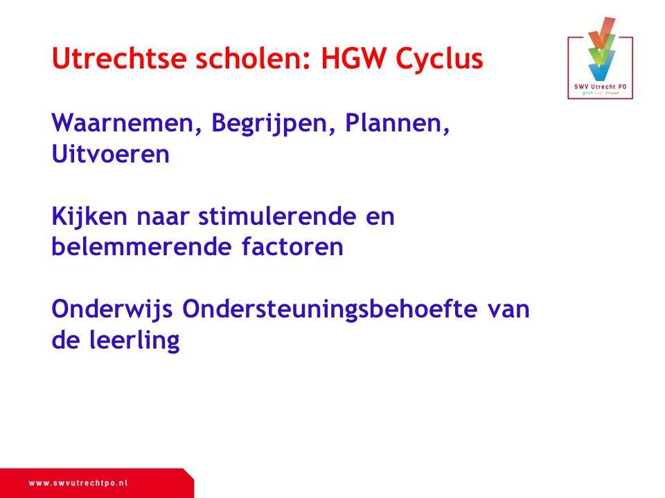 Utrechtse scholen: HGW Cyclus Waarnemen, Begrijpen, Plannen, Uitvoeren Kijken naar stimulerende en belemmerende factoren Onderwijs Ondersteuningsbehoe