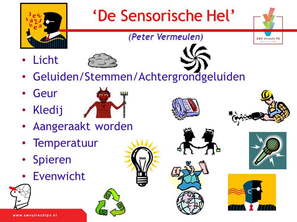 'De Sensorische Hel' (Peter Vermeulen) Licht Geluiden/Stemmen/Achtergrondgeluiden Geur Kledij Aangeraakt worden Temperatuur Spieren Evenwicht