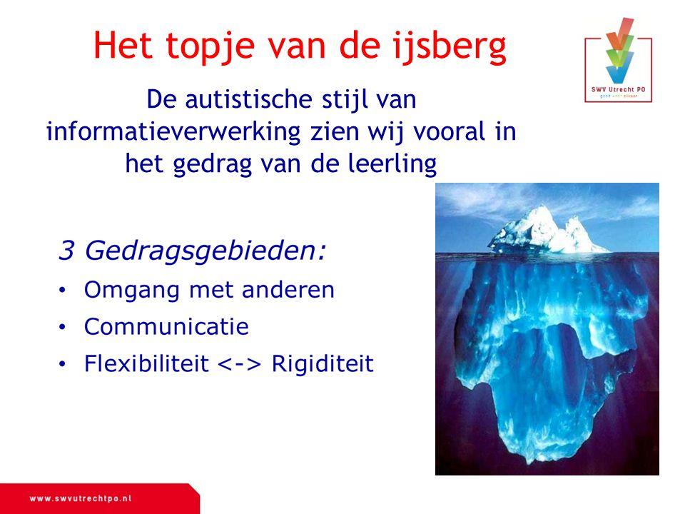 De autistische stijl van informatieverwerking zien wij vooral in het gedrag van de leerling Het topje van de ijsberg