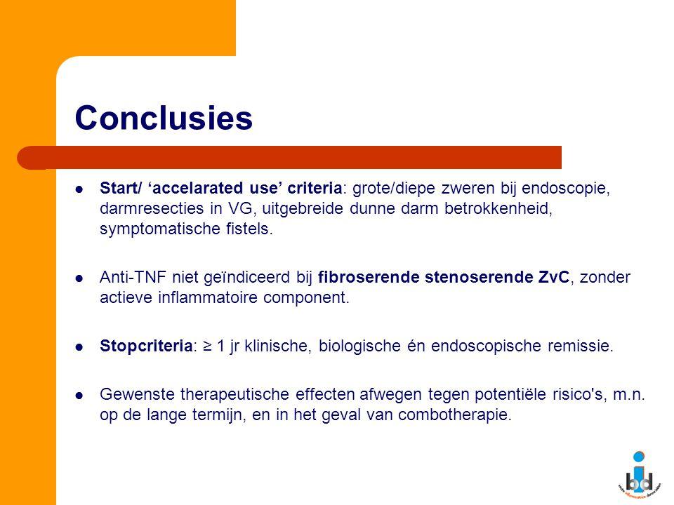 Conclusies Start/ 'accelarated use' criteria: grote/diepe zweren bij endoscopie, darmresecties in VG, uitgebreide dunne darm betrokkenheid, symptomati