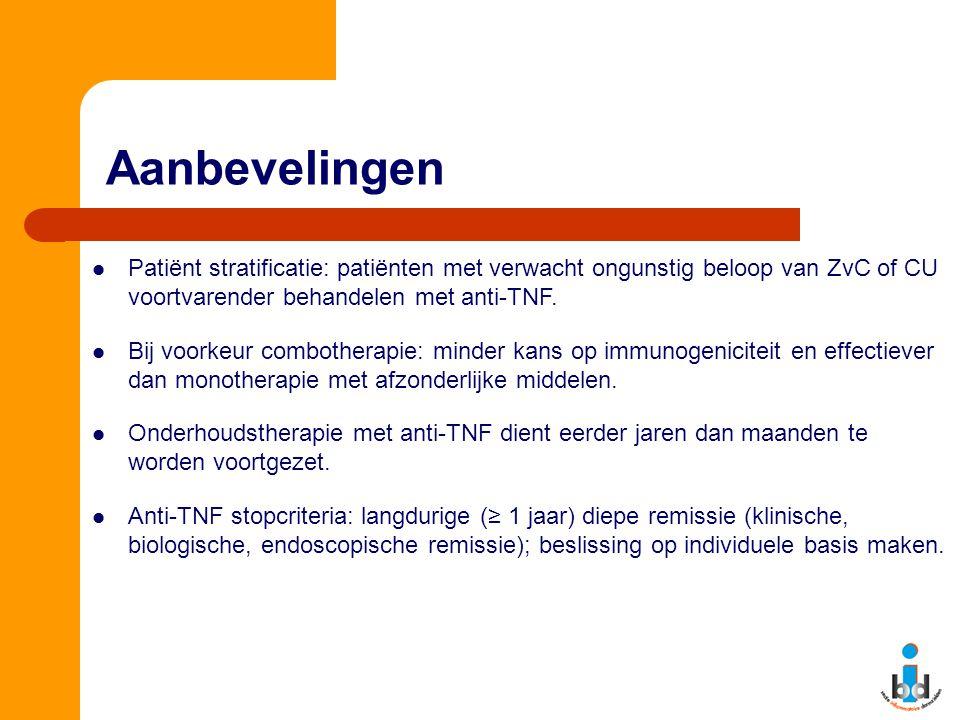 Aanbevelingen Patiënt stratificatie: patiënten met verwacht ongunstig beloop van ZvC of CU voortvarender behandelen met anti-TNF. Bij voorkeur comboth