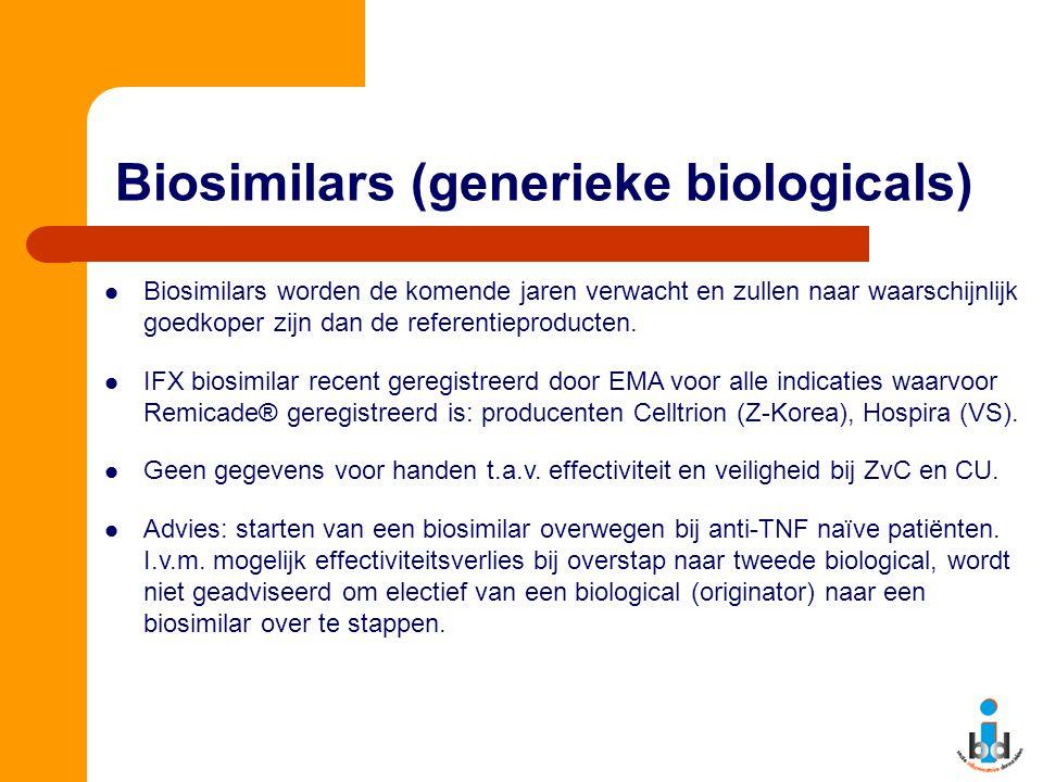 Biosimilars (generieke biologicals) Biosimilars worden de komende jaren verwacht en zullen naar waarschijnlijk goedkoper zijn dan de referentieproduct