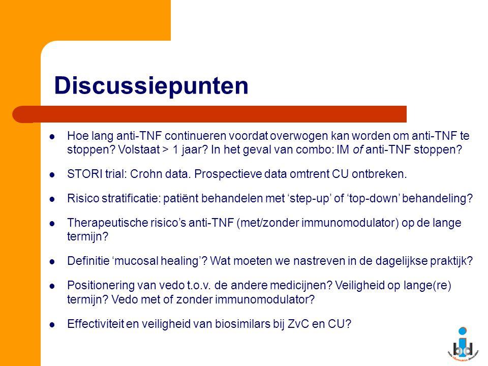 Discussiepunten Hoe lang anti-TNF continueren voordat overwogen kan worden om anti-TNF te stoppen? Volstaat > 1 jaar? In het geval van combo: IM of an