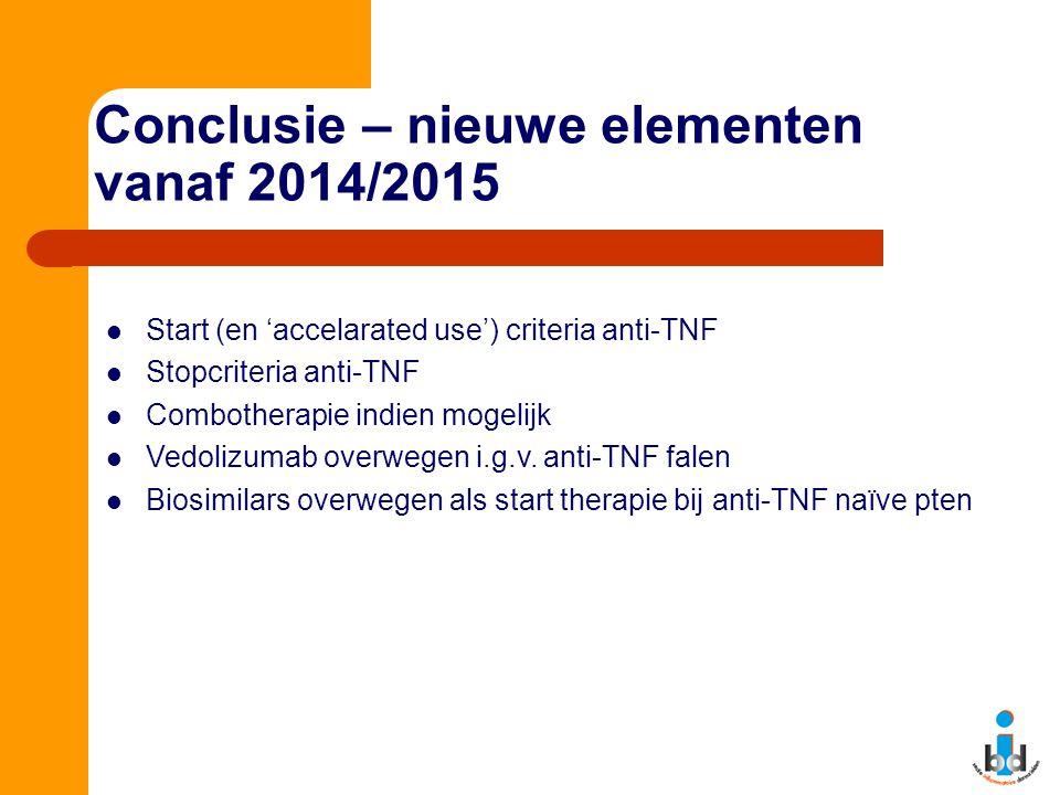 Conclusie – nieuwe elementen vanaf 2014/2015 Start (en 'accelarated use') criteria anti-TNF Stopcriteria anti-TNF Combotherapie indien mogelijk Vedoli