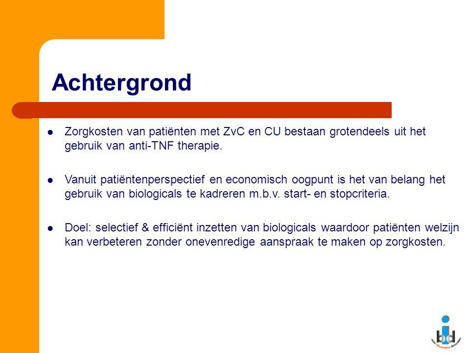 Achtergrond Zorgkosten van patiënten met ZvC en CU bestaan grotendeels uit het gebruik van anti-TNF therapie. Vanuit patiëntenperspectief en economisc