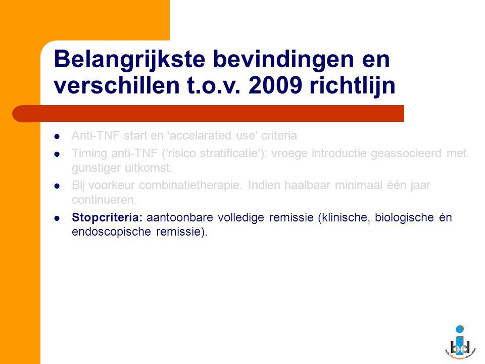 Belangrijkste bevindingen en verschillen t.o.v. 2009 richtlijn Anti-TNF start en 'accelarated use' criteria Timing anti-TNF ('risico stratificatie'):