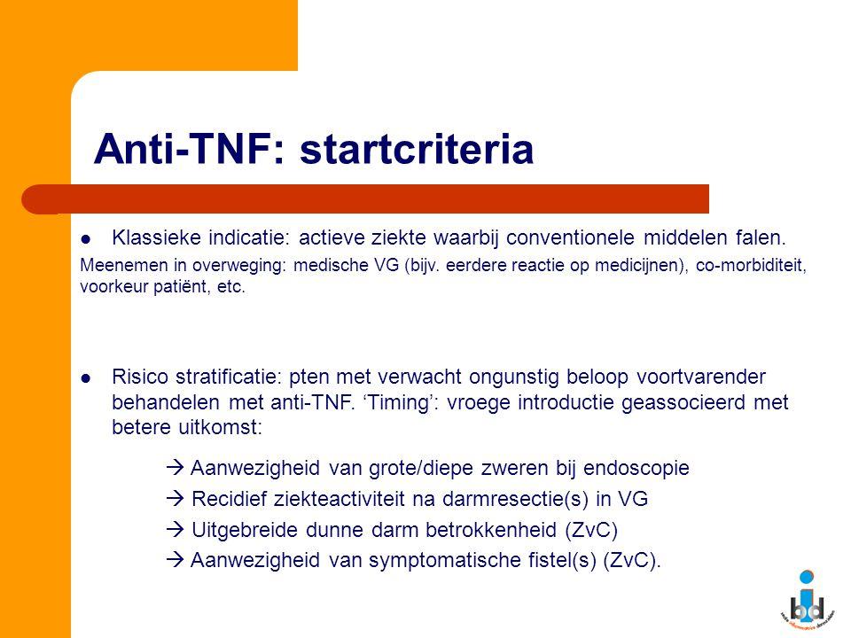 Anti-TNF: startcriteria Klassieke indicatie: actieve ziekte waarbij conventionele middelen falen. Meenemen in overweging: medische VG (bijv. eerdere r
