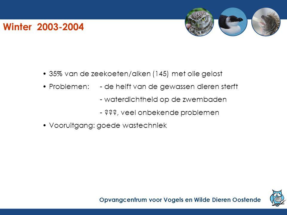 35% van de zeekoeten/alken (145) met olie gelost Problemen:- de helft van de gewassen dieren sterft - waterdichtheid op de zwembaden - ???, veel onbek