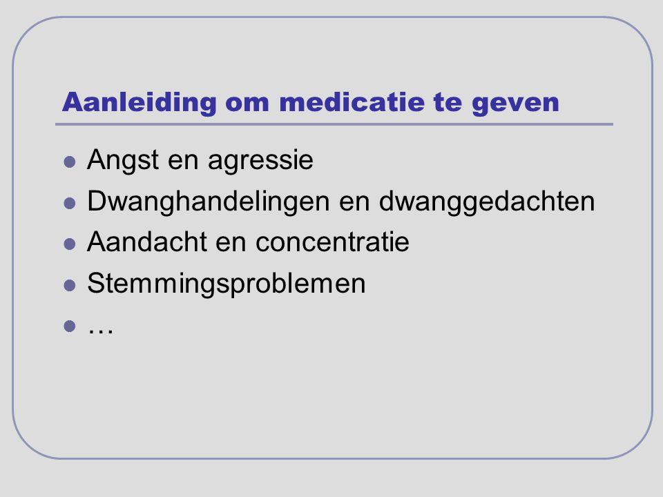 Aanleiding om medicatie te geven Angst en agressie Dwanghandelingen en dwanggedachten Aandacht en concentratie Stemmingsproblemen …