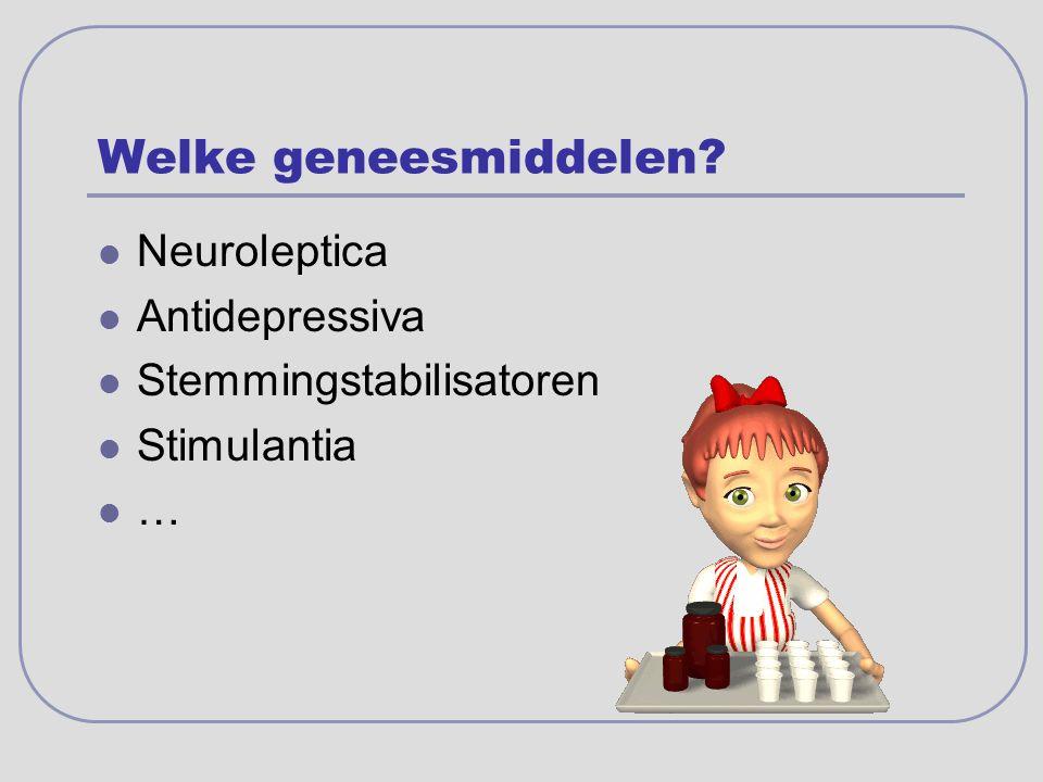 Welke geneesmiddelen? Neuroleptica Antidepressiva Stemmingstabilisatoren Stimulantia …