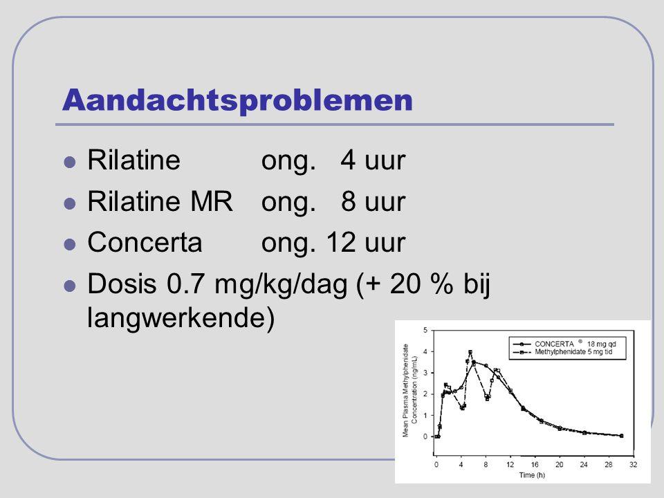 Aandachtsproblemen Rilatineong. 4 uur Rilatine MRong. 8 uur Concertaong. 12 uur Dosis 0.7 mg/kg/dag (+ 20 % bij langwerkende)
