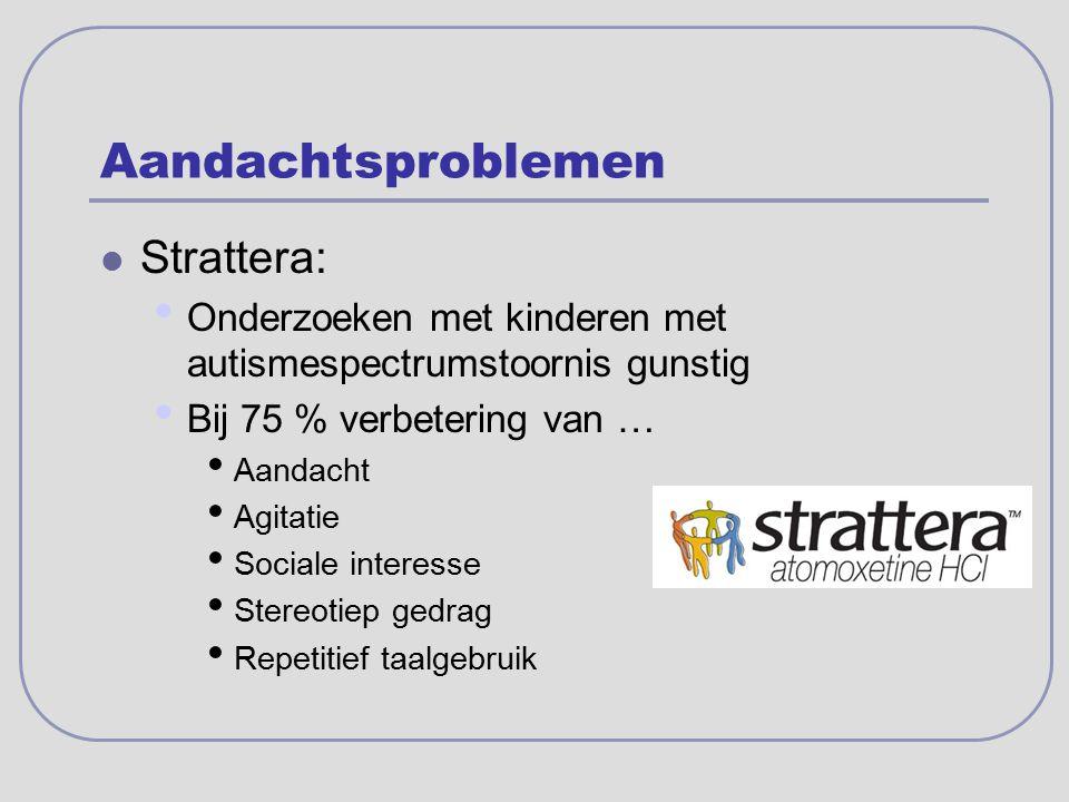 Aandachtsproblemen Strattera: Onderzoeken met kinderen met autismespectrumstoornis gunstig Bij 75 % verbetering van … Aandacht Agitatie Sociale intere