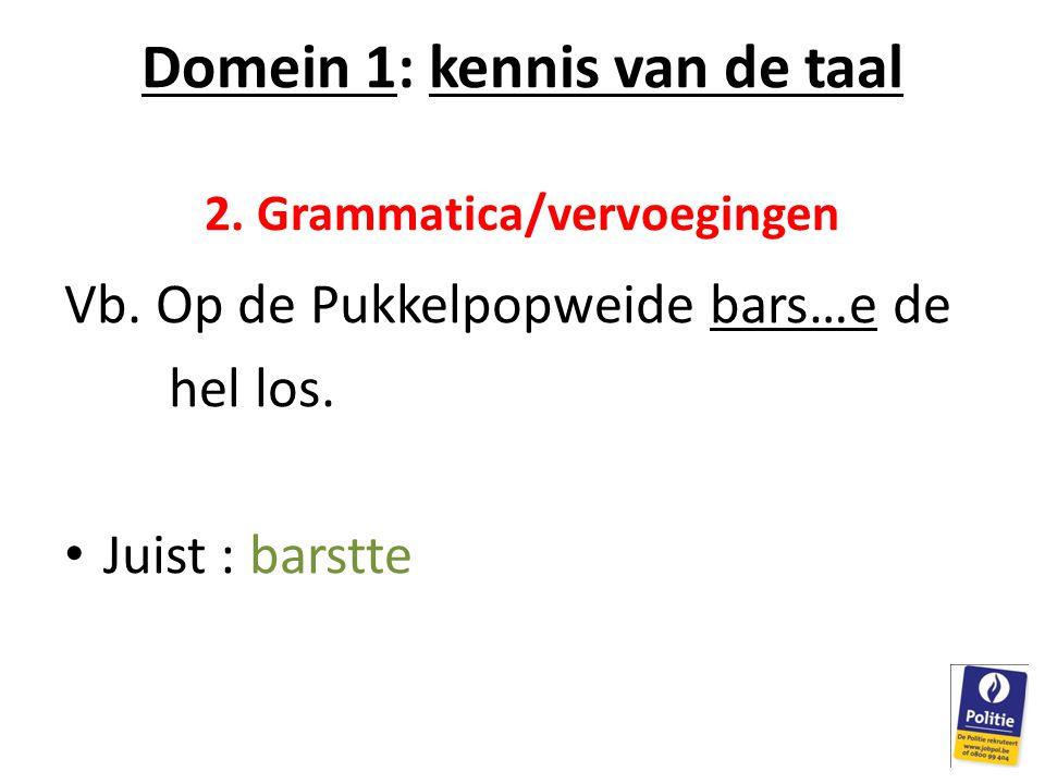 Domein 1: kennis van de taal 2. Grammatica/vervoegingen Vb. Op de Pukkelpopweide bars…e de hel los. Juist : barstte