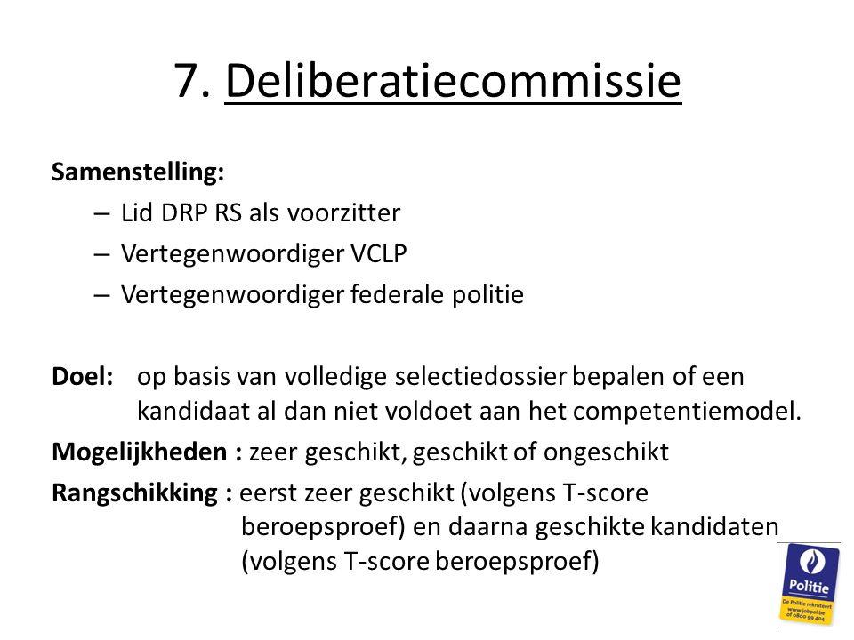 Samenstelling: – Lid DRP RS als voorzitter – Vertegenwoordiger VCLP – Vertegenwoordiger federale politie Doel: op basis van volledige selectiedossier