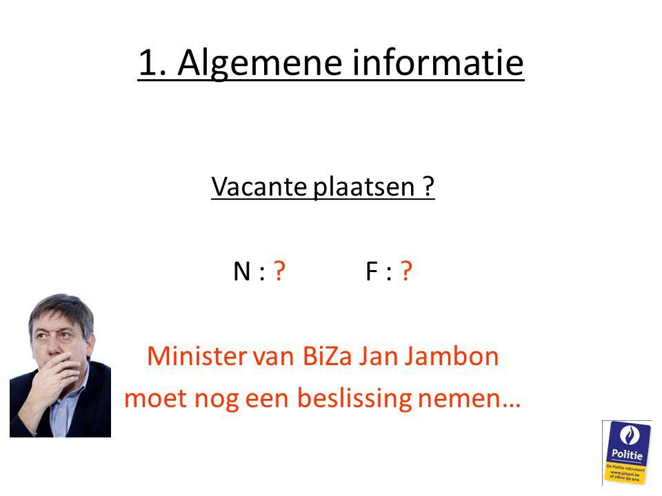1. Algemene informatie Vacante plaatsen ? N : ?F : ? Minister van BiZa Jan Jambon moet nog een beslissing nemen…