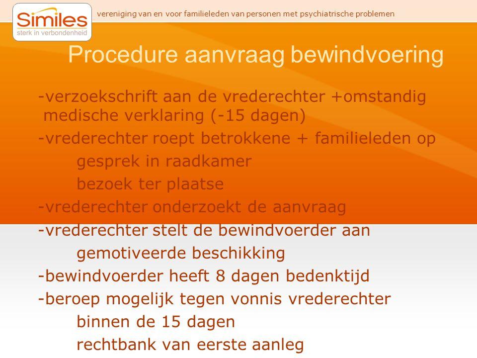 vereniging van en voor familieleden van personen met psychiatrische problemen Procedure aanvraag bewindvoering -verzoekschrift aan de vrederechter +om