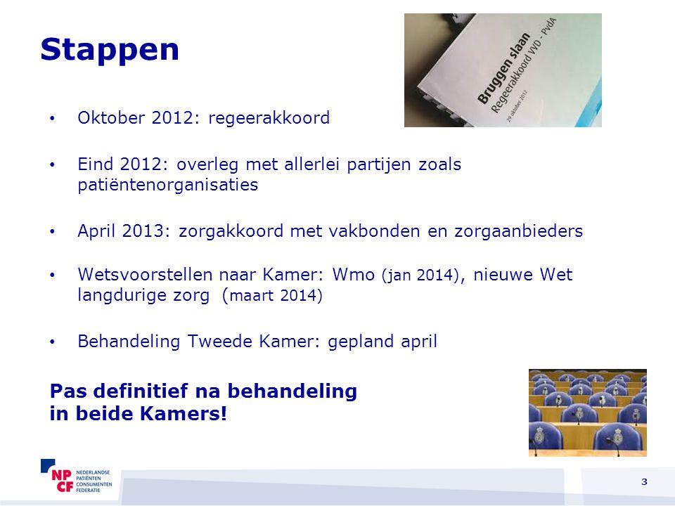 3 Oktober 2012: regeerakkoord Eind 2012: overleg met allerlei partijen zoals patiëntenorganisaties April 2013: zorgakkoord met vakbonden en zorgaanbie