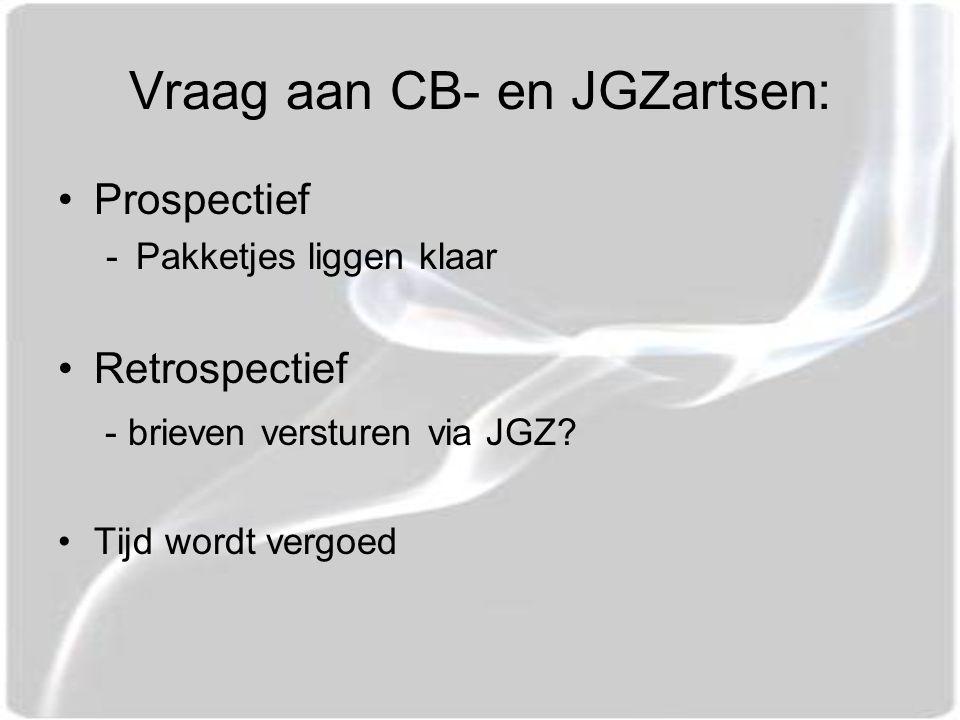 Vraag aan CB- en JGZartsen: Prospectief -Pakketjes liggen klaar Retrospectief - brieven versturen via JGZ.