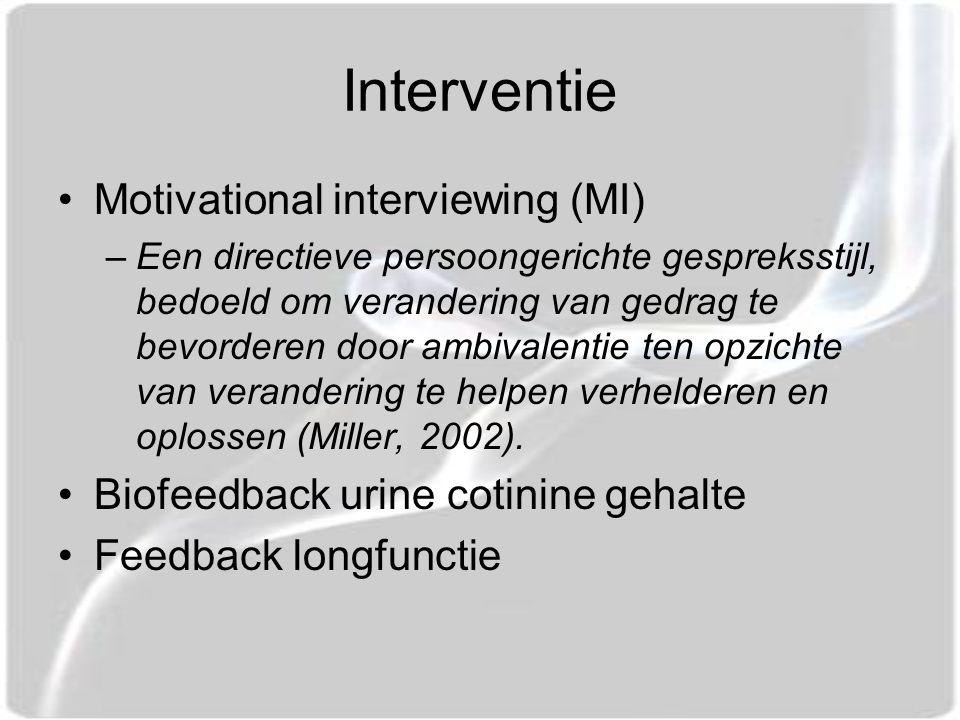Interventie Motivational interviewing (MI) –Een directieve persoongerichte gespreksstijl, bedoeld om verandering van gedrag te bevorderen door ambivalentie ten opzichte van verandering te helpen verhelderen en oplossen (Miller, 2002).