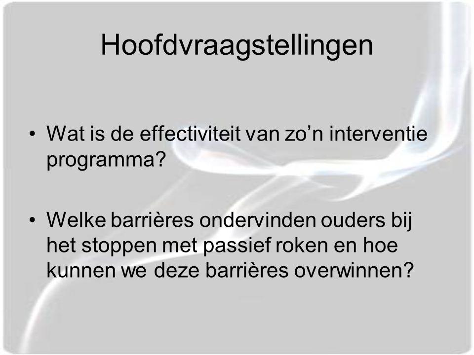 Hoofdvraagstellingen Wat is de effectiviteit van zo'n interventie programma.