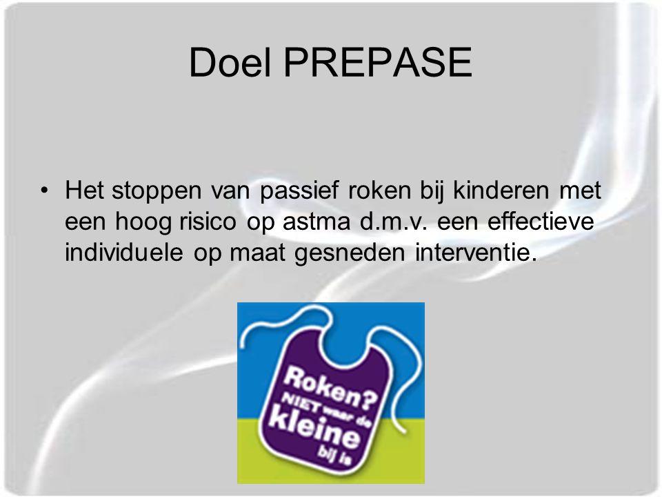 Doel PREPASE Het stoppen van passief roken bij kinderen met een hoog risico op astma d.m.v.