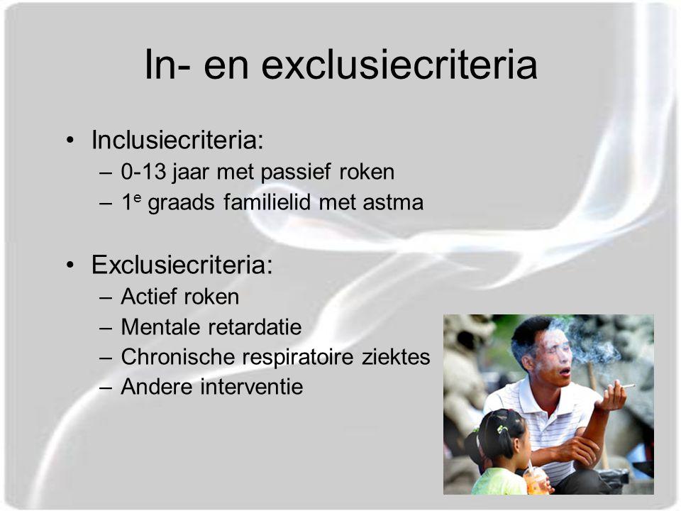 In- en exclusiecriteria Inclusiecriteria: –0-13 jaar met passief roken –1 e graads familielid met astma Exclusiecriteria: –Actief roken –Mentale retardatie –Chronische respiratoire ziektes –Andere interventie