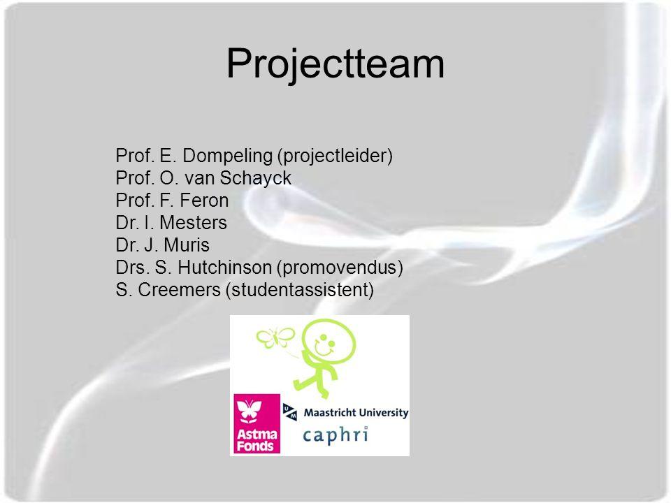 Projectteam Prof. E. Dompeling (projectleider) Prof. O. van Schayck Prof. F. Feron Dr. I. Mesters Dr. J. Muris Drs. S. Hutchinson (promovendus) S. Cre