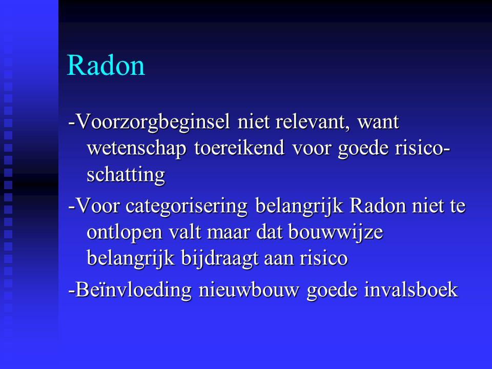 Radon -Voorzorgbeginsel niet relevant, want wetenschap toereikend voor goede risico- schatting -Voor categorisering belangrijk Radon niet te ontlopen valt maar dat bouwwijze belangrijk bijdraagt aan risico -Beïnvloeding nieuwbouw goede invalsboek