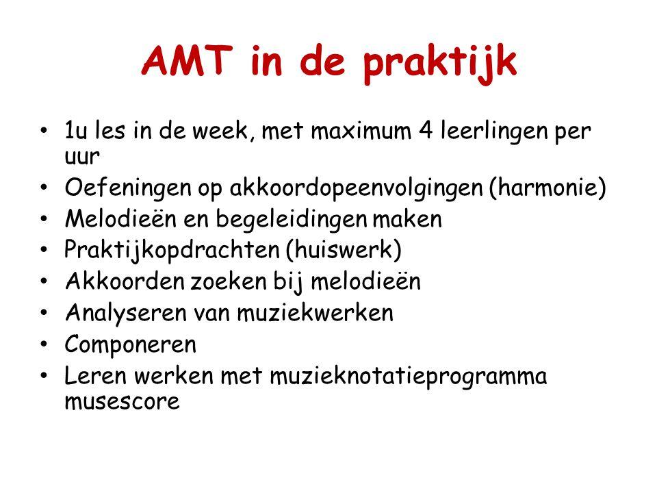 AMT in de praktijk 1u les in de week, met maximum 4 leerlingen per uur Oefeningen op akkoordopeenvolgingen (harmonie) Melodieën en begeleidingen maken