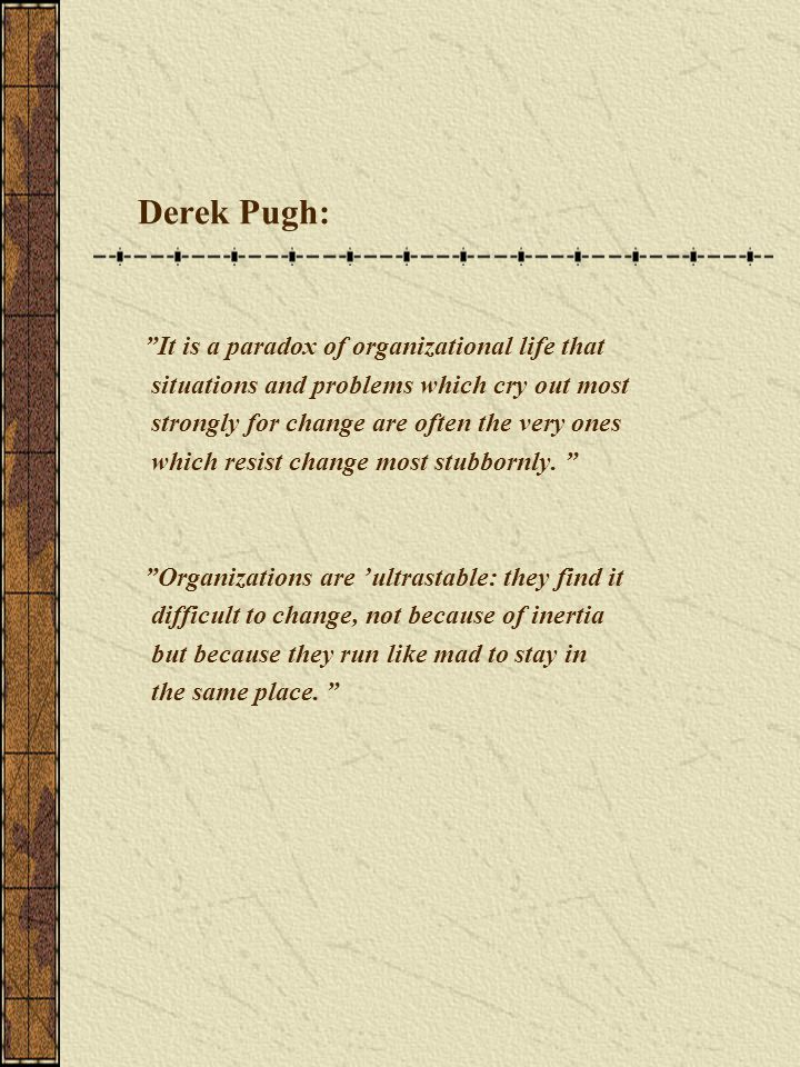 "Derek Pugh: ""It is a paradox of organizational life that situations and problems which cry out most strongly for change are often the very ones which"