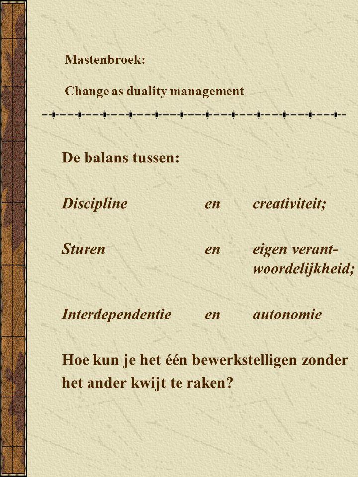 Mastenbroek: Change as duality management De balans tussen: Disciplineen creativiteit; Sturenen eigen verant- woordelijkheid; Interdependentie en autonomie Hoe kun je het één bewerkstelligen zonder het ander kwijt te raken?