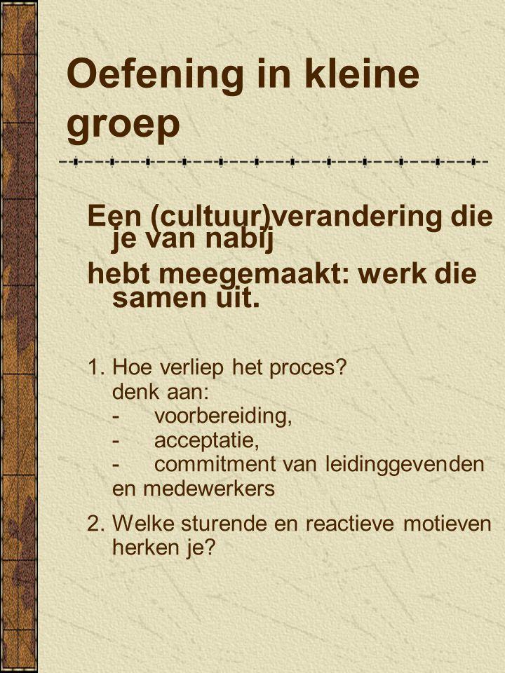 Oefening in kleine groep Een (cultuur)verandering die je van nabij hebt meegemaakt: werk die samen uit. 1.Hoe verliep het proces? denk aan: -voorberei