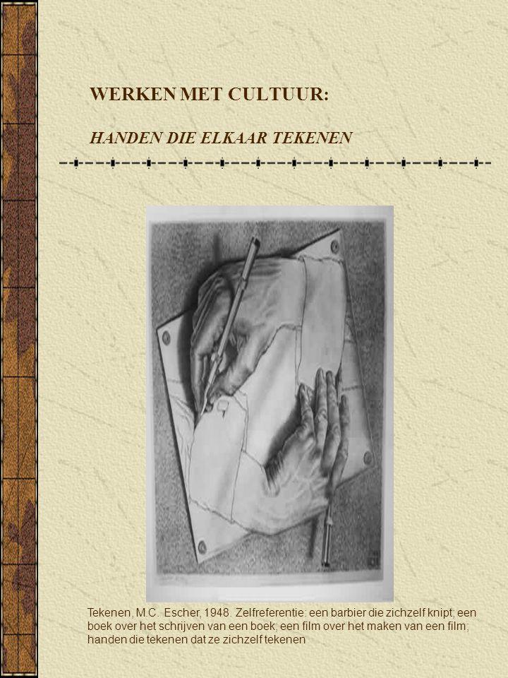 Tekenen, M.C. Escher, 1948. Zelfreferentie: een barbier die zichzelf knipt; een boek over het schrijven van een boek; een film over het maken van een
