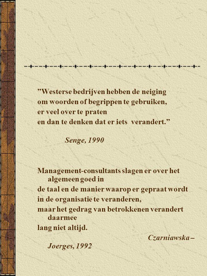 """""""Westerse bedrijven hebben de neiging om woorden of begrippen te gebruiken, er veel over te praten en dan te denken dat er iets verandert."""" Senge, 199"""
