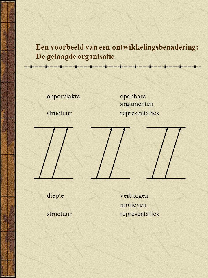 Een voorbeeld van een ontwikkelingsbenadering: De gelaagde organisatie oppervlakteopenbare argumenten structuurrepresentaties diepteverborgen motieven structuur representaties