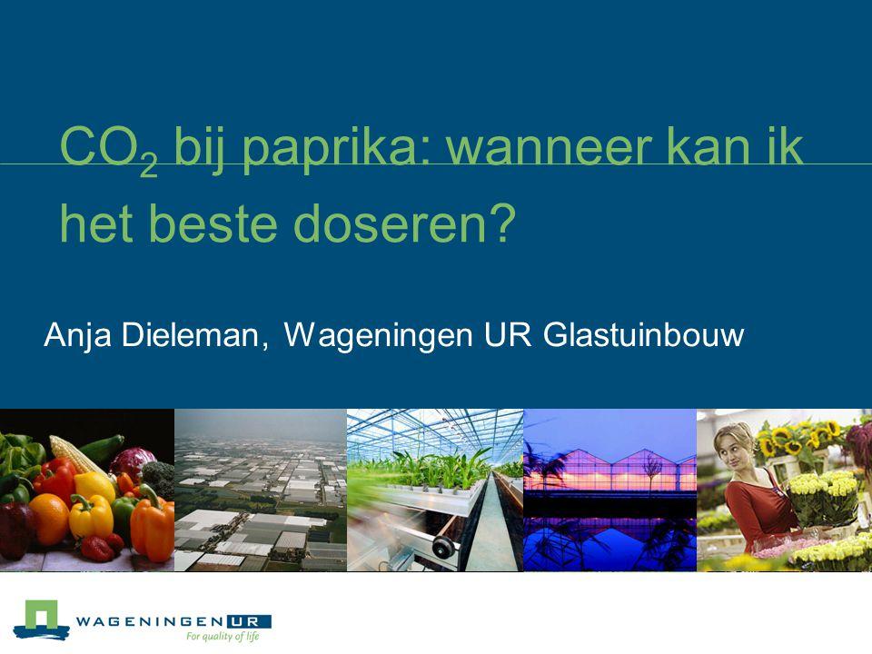 CO 2 bij paprika: wanneer kan ik het beste doseren Anja Dieleman, Wageningen UR Glastuinbouw