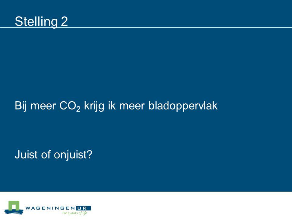 Stelling 2 Bij meer CO 2 krijg ik meer bladoppervlak Juist of onjuist?